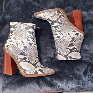 White Snakeskin Ankle Boots